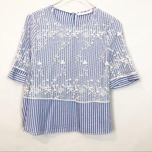 Zara Striped Lave Overlay Cotton Blouse M
